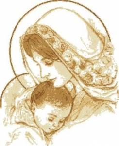 Схема Мадонна с младенцем в бежевых тонах