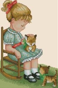 Схема Девочка с котятами