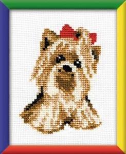 Схема Собачка с красным бантиком
