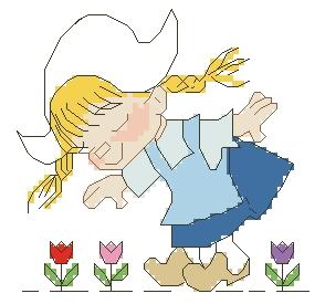 Схема Девочка нюхает цветы