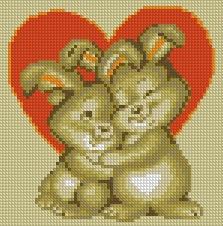 Схема Валентинка с зайчиками