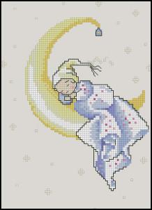 Схема Малыш на луне (метрика для девочки)