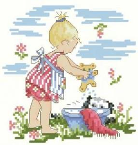 Схема Девочка купает мишку