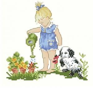 Схема Девочка поливает цветы