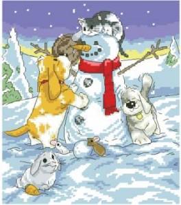 Схема Снеговик и щенки