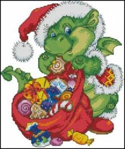 Схема Дракоша с подарками
