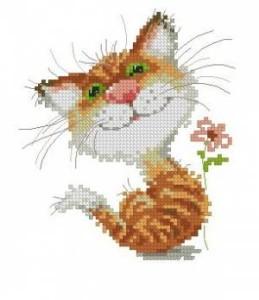 Схема Рыжий котёнок с ромашкой