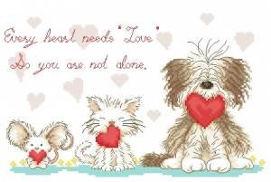 Схема Валентинки от собачки, кошки, мышки