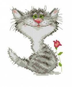 Схема Котёнок с розой