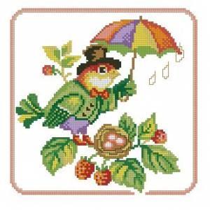 Схема Птичка с зонтиком