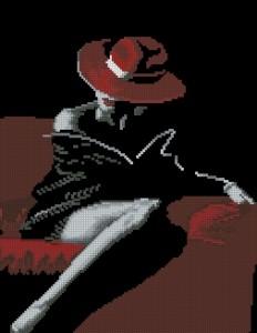 Схема Дама в красной шляпе