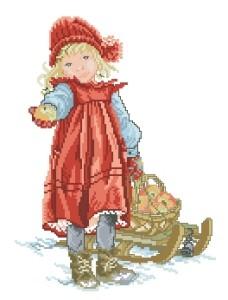 Схема Девочка с санками и яблоками