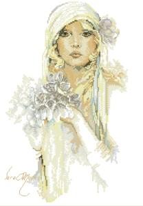 Схема Леди с сиреневым цветком (Сара Мун)