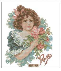 Схема Девочка с букетом роз