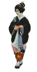 Схема Гейша в чёрном кимоно
