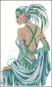 Схема Девушка в шляпке с голубыми перьями