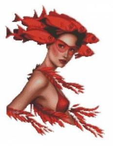Схема Девушка с рыбками и водорослями (Эстер)