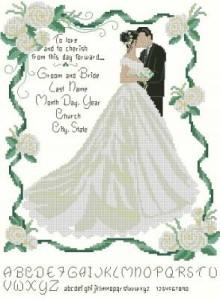 Схема Молодожены (открытка)