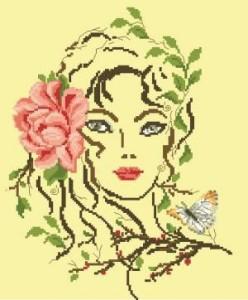 Схема Девушка с розой