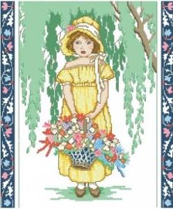Схема Девочка с корзиной цветов
