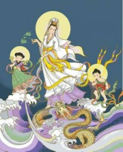 Схема Китайская богиня на волнах