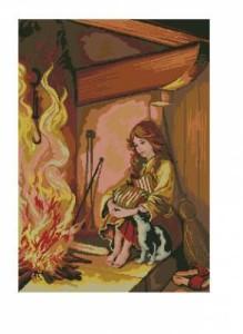 Схема Девочка у камина