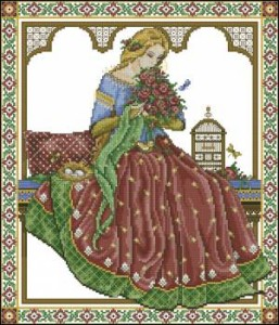 Схема Девушка с букетом цветов