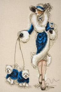 Схема Дама с собачками в синем / Great Scotts I