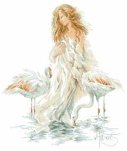 Схема Девушка и фламинго