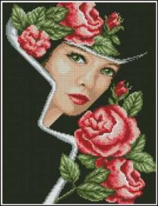 Схема Дама с розами