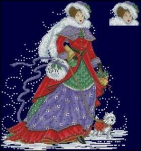 Схема Девушка в метель с собачкой