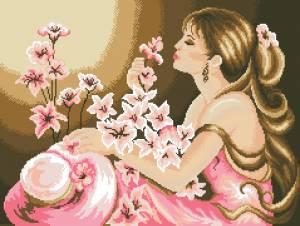Схема Дама в розовом