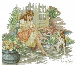 Схема Девушка с собакой