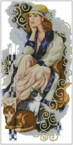 Схема Девушка и кошки