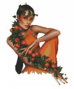 Схема Девушка с мандариновой веткой (Дорис)