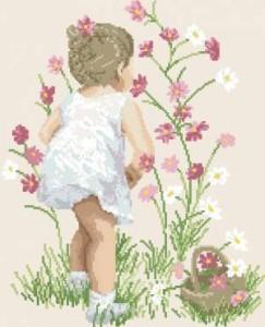 Схема Девочка с цветами