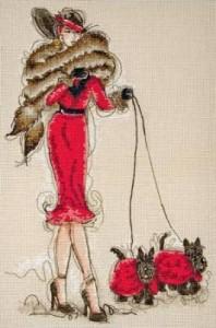 Схема Дама с собачками в красном / Great Scotts II