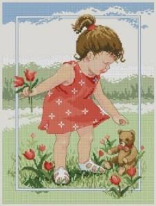 Схема Девочка с тюльпанами