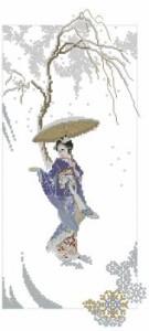 Схема Гейша в сиреневом кимоно