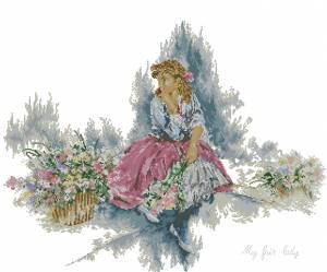 Схема Девушка с цветами