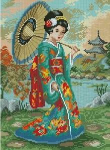 Схема Японка с зонтом в синем кимоно