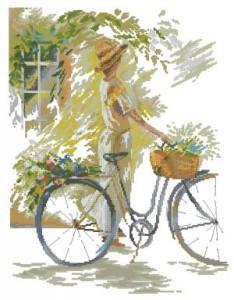 Схема Девушка на велосипеде с цветами