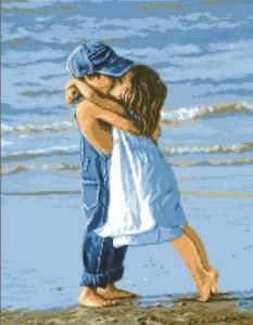 Схема Детский поцелуй (For our birthday) на фоне моря