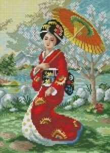 Схема Японка с зонтом