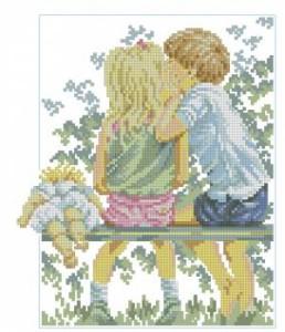 Схема Дети на скамейке