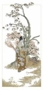 Схема Гейша в коричневом кимоно