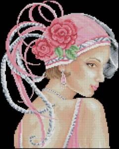 Схема Девушка в шляпке с перьями
