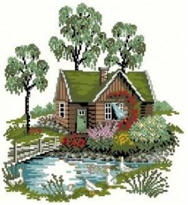 Схема Домик в деревне с березками