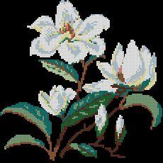 Схема Белые цветы для подушки