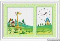 Схема Детские часики, жираф